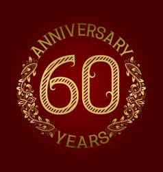 Golden emblem of sixtieth anniversary vector
