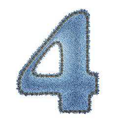 Jeans alphabet Denim number 4 vector image vector image