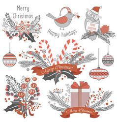 New year and christmas decoration set of gifts vector