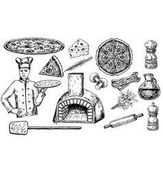 pizza set ink hand drawn vector image