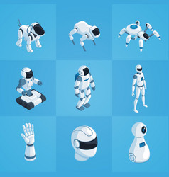 robots isometric icons set vector image