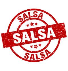 salsa round red grunge stamp vector image