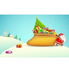 Santa claus pulling gift bag vector