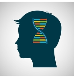 Silhouette head dna molecule lab work vector
