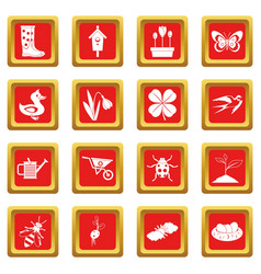 Spring icons set red vector