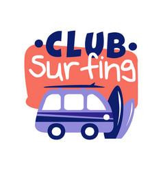 surfing club logo surf retro badge vector image vector image