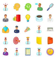 Telework icons set cartoon style vector