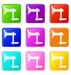 Twist tool icons 9 set vector