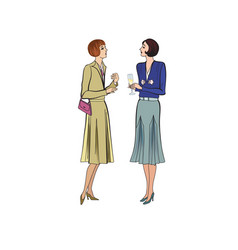two women conversation on party retro dress in vector image