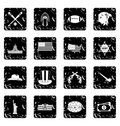 Usa set icons grunge style vector