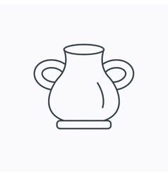 Vase icon decorative vintage amphora sign vector