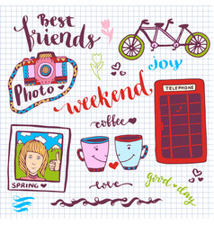 weekend stickers romantic set of hand drawn vector image vector image