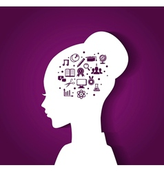 Womans head with education icons vector image