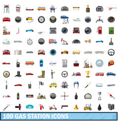 100 gas station icons set cartoon style vector