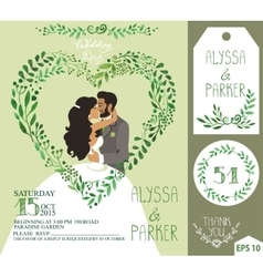 Wedding invitationgreen branches heart  kissing vector