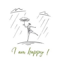 Hand drawn girl dancing under rain with lettering vector