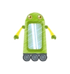 Drawing green robot technology innovation vector