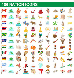 100 nation icons set cartoon style vector image