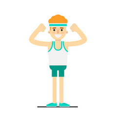 Sporty smiling boy in sportswear doing gymnastics vector