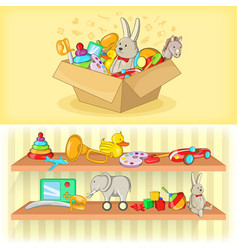 Baby toys banner set horizontal cartoon style vector