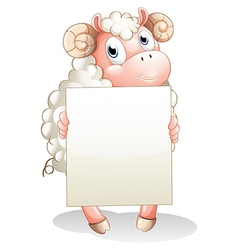A sheep holding an empty cardboard vector