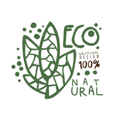 One hundred percent eco natural label original vector
