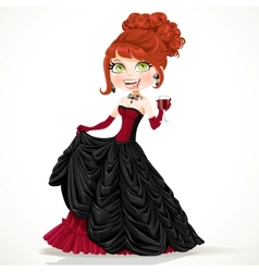 Beautiful vampire in a ball gown with a glass of vector