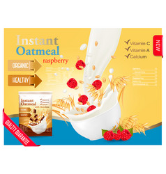 Instant oatmeal with raspberry advert concept vector