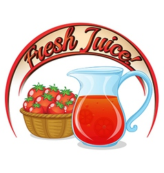 A fresh juice label with a basket of tomatoes and vector