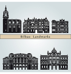Bilbao landmarks and monuments vector