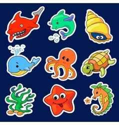 The different sea creatures vector
