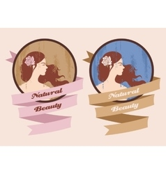 Label with beautiful girl vector
