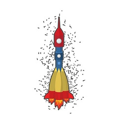 Rocket space ship on a white background vector