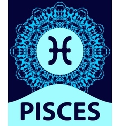 Pisces fish zodiac icon with mandala print vector