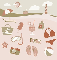 Colorful beach equipment icon set vector