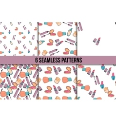 Makeup seamless pattern set vector