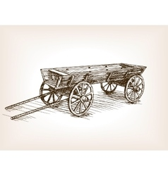 Vintage wooden cart hand drawn sketch vector