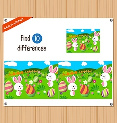 Find differences happy easter vector
