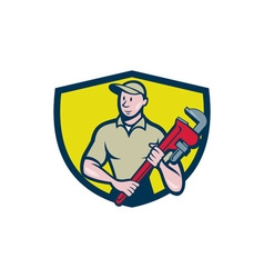 Plumber holding monkey wrench crest cartoon vector