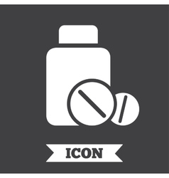 Medical tablets bottle sign icon drugs symbol vector