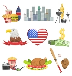 American national symbols set vector