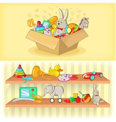 Baby toys banner set horizontal cartoon style vector