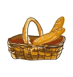 Basket with french baguette bread vector