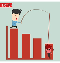 Business man pull bar chart - - eps10 vector