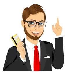 businessman holding golden credit card vector image vector image