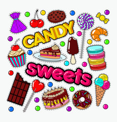 candy and sweet food doodle with chocolate vector image vector image