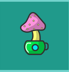 Cartoon mushroom fly agaric in small green pot vector