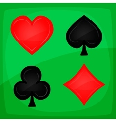 Casino Poker Icons On Green Carpet vector image vector image