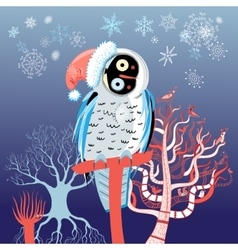 Christmas owl vector image vector image