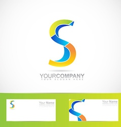 Colored letter S logo 3d vector image vector image
